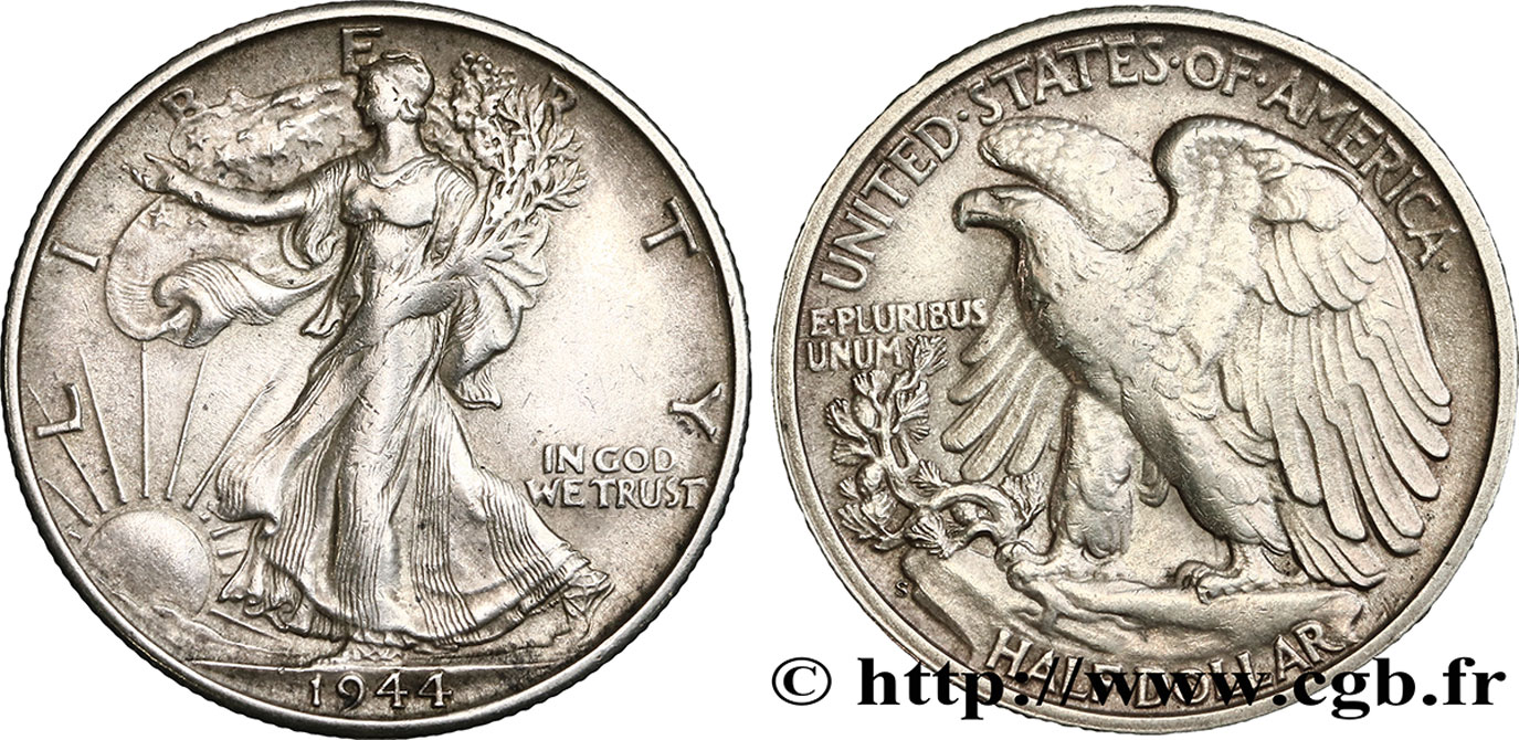 ÉTATS-UNIS D AMÉRIQUE 1/2 Dollar Walking Liberty 1944 San Francisco - S TTB