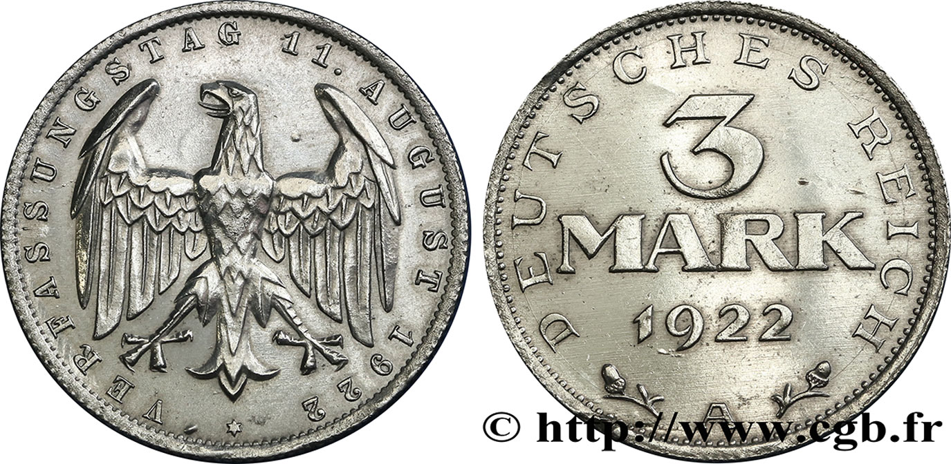 ALLEMAGNE 3 Mark aigle 1922 Berlin