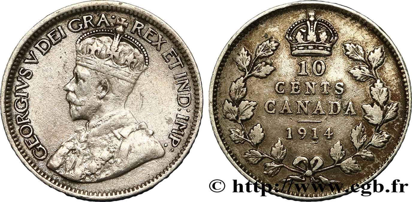 CANADA 10 Cents Georges V 1914  TTB