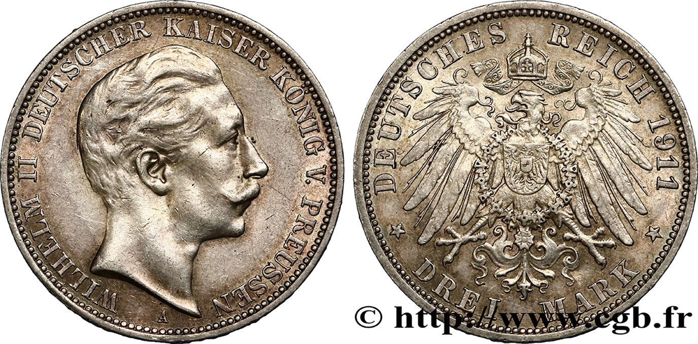 ALLEMAGNE - PRUSSE 3 Mark Guillaume II 1911 Berlin SUP