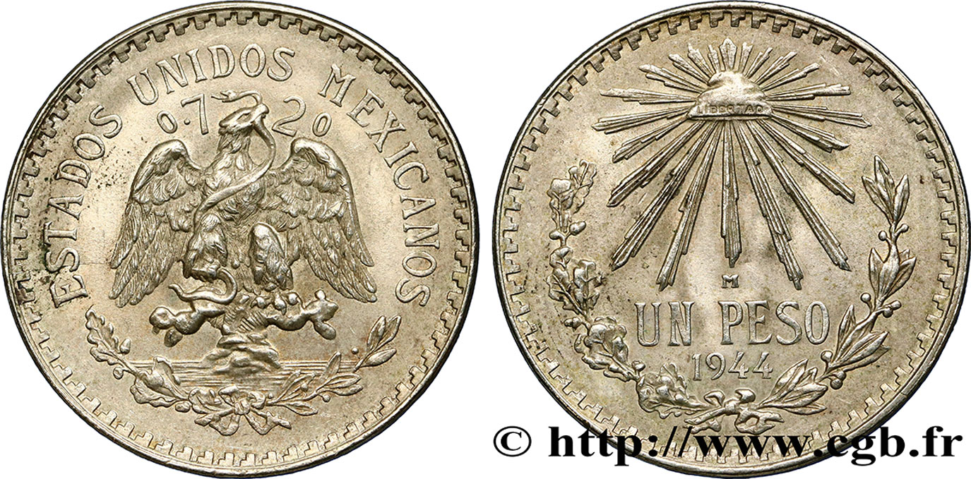 MEXIQUE 1 Peso 1944 Mexico TTB+
