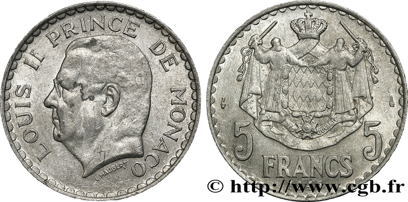 MONACO 5 Francs Louis II / armoiries 1945 Paris SUP