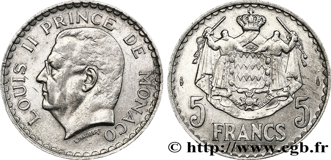 MONACO 5 Francs Louis II / armoiries 1945 Paris TTB