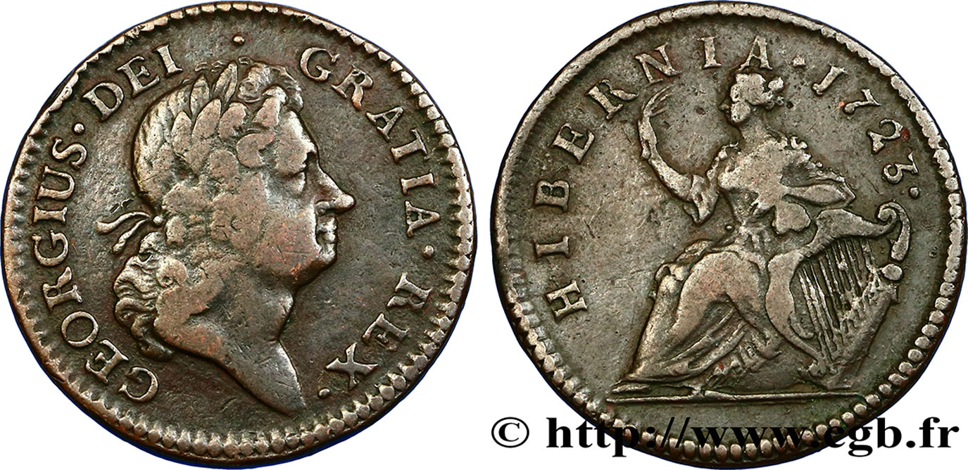 IRLANDE 1/2 Penny Georges I 1723  TB+