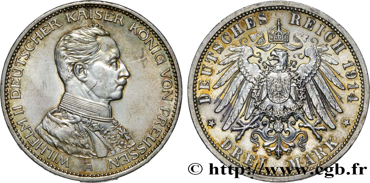 ALLEMAGNE - PRUSSE 3 Mark Guillaume II 1914 Berlin SUP
