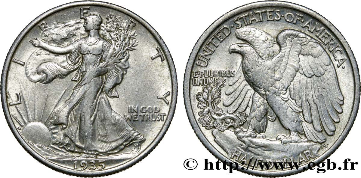 ÉTATS-UNIS D AMÉRIQUE 1/2 Dollar Walking Liberty 1935 Philadelphie TTB+
