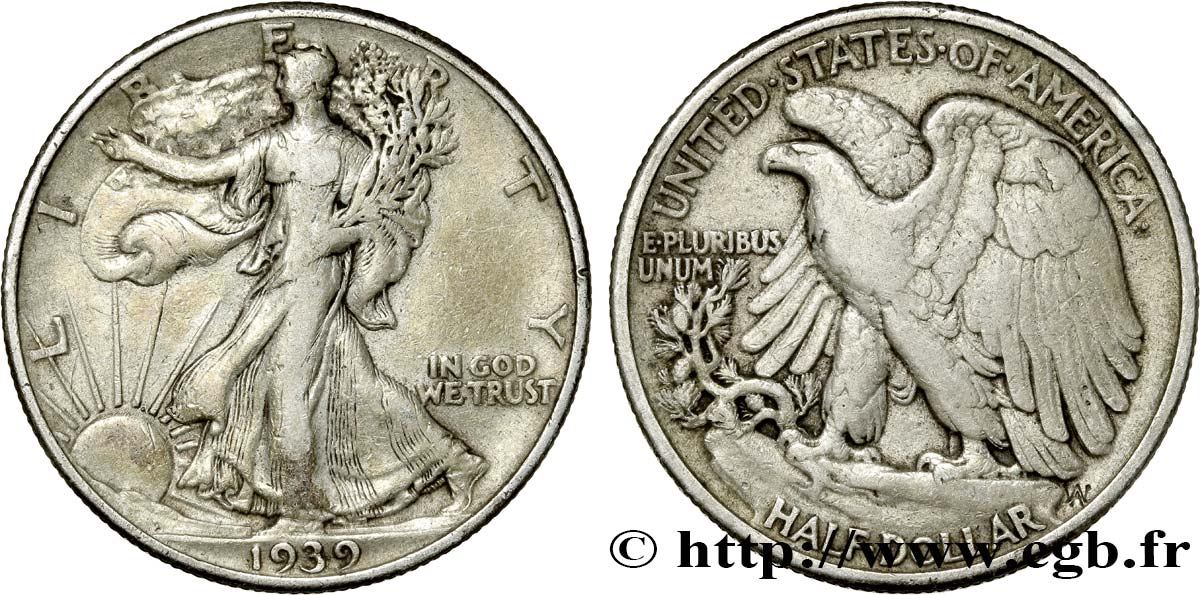 ÉTATS-UNIS D AMÉRIQUE 1/2 Dollar Walking Liberty 1939 Philadelphie TB+