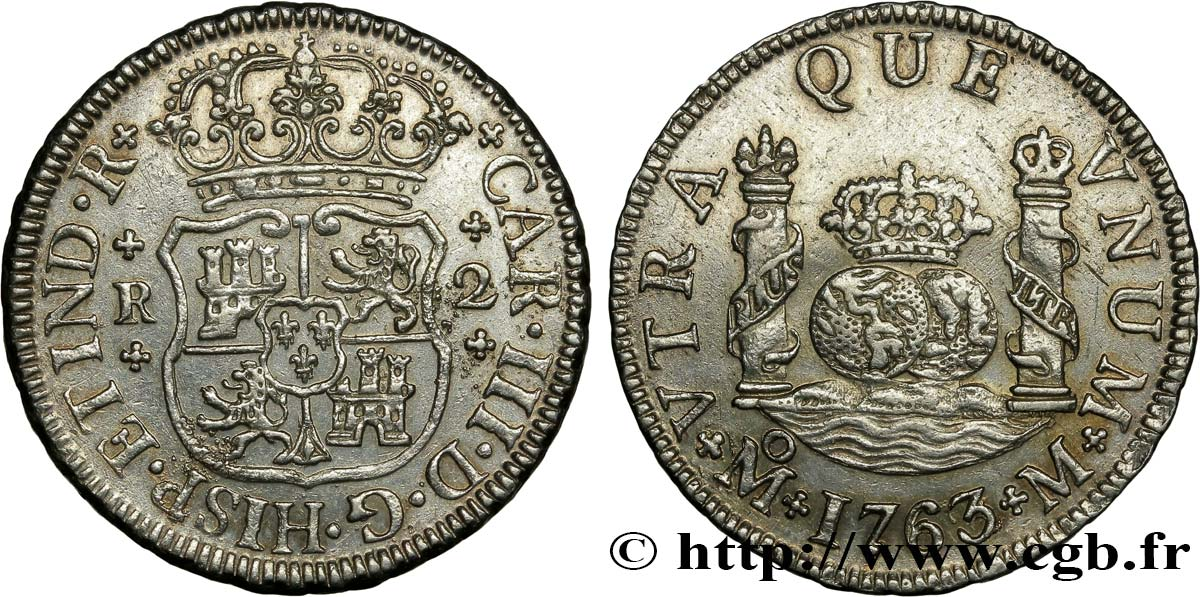 MEXIQUE 2 Reales 1763 Mexico TTB+