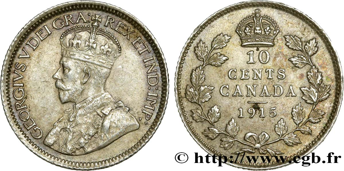 CANADA 10 Cents Georges V 1915  SUP