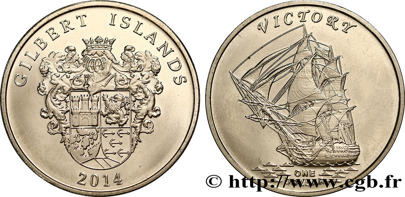 ÎLES GILBERT 1 Dollar Voilier Victory 2014  FDC