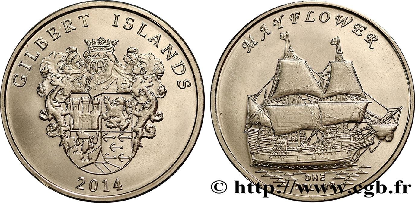 ÎLES GILBERT 1 Dollar Voilier Mayflower 2014  FDC