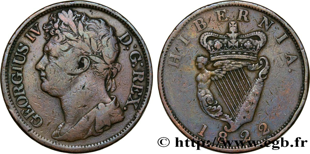 IRLANDE 1 Penny Georges IV 1822  TB