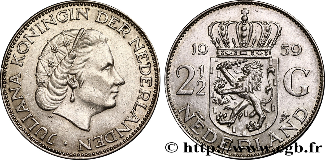 PAYS-BAS 2 1/2 Gulden Juliana 1959 Utrecht SUP