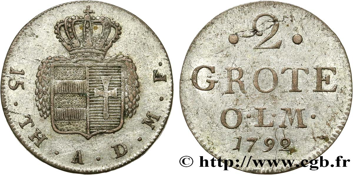 ALLEMAGNE - OLDENBOURG 2 Grote armes couronnée 1792  SUP