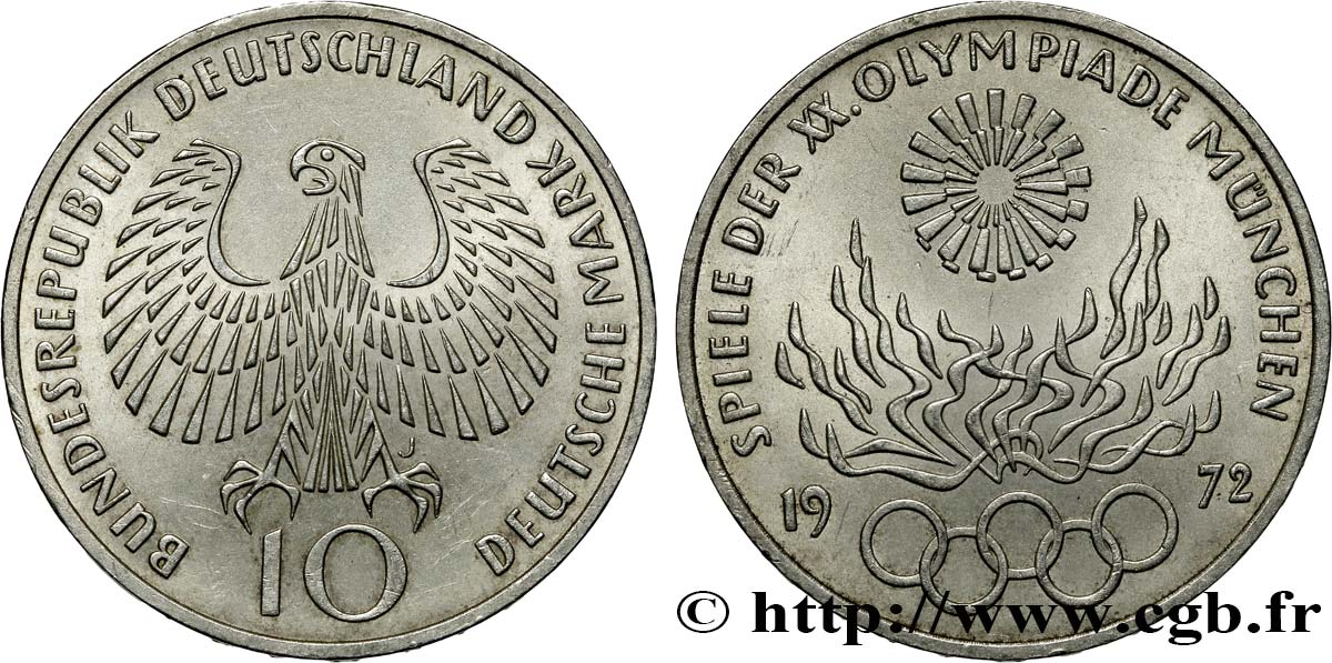 ALLEMAGNE 10 Mark / XXe J.O. Munich - Flamme olympique 1972 Hambourg SUP