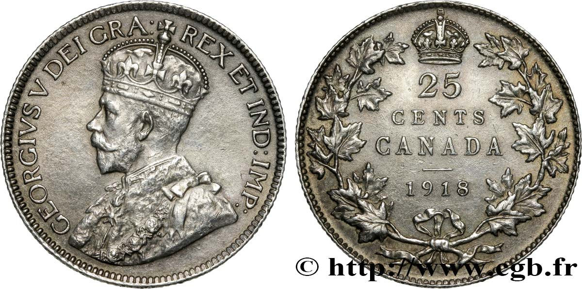 CANADA 25 Cents Georges V 1918  SUP