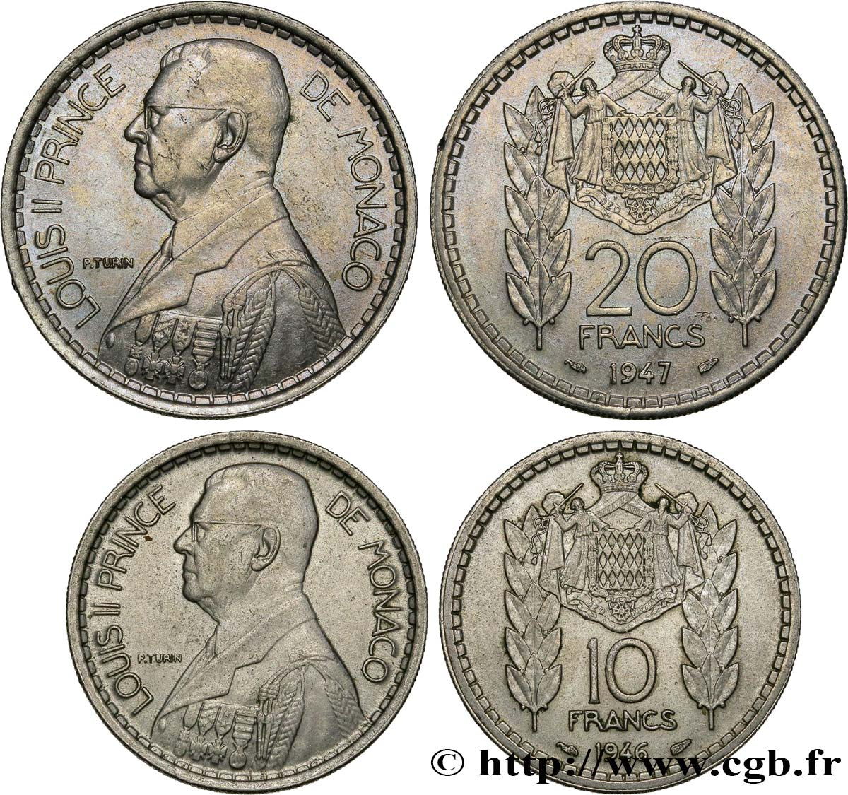MONACO Lot 10 et 20 Francs prince Louis II 1946-1947 Paris SUP