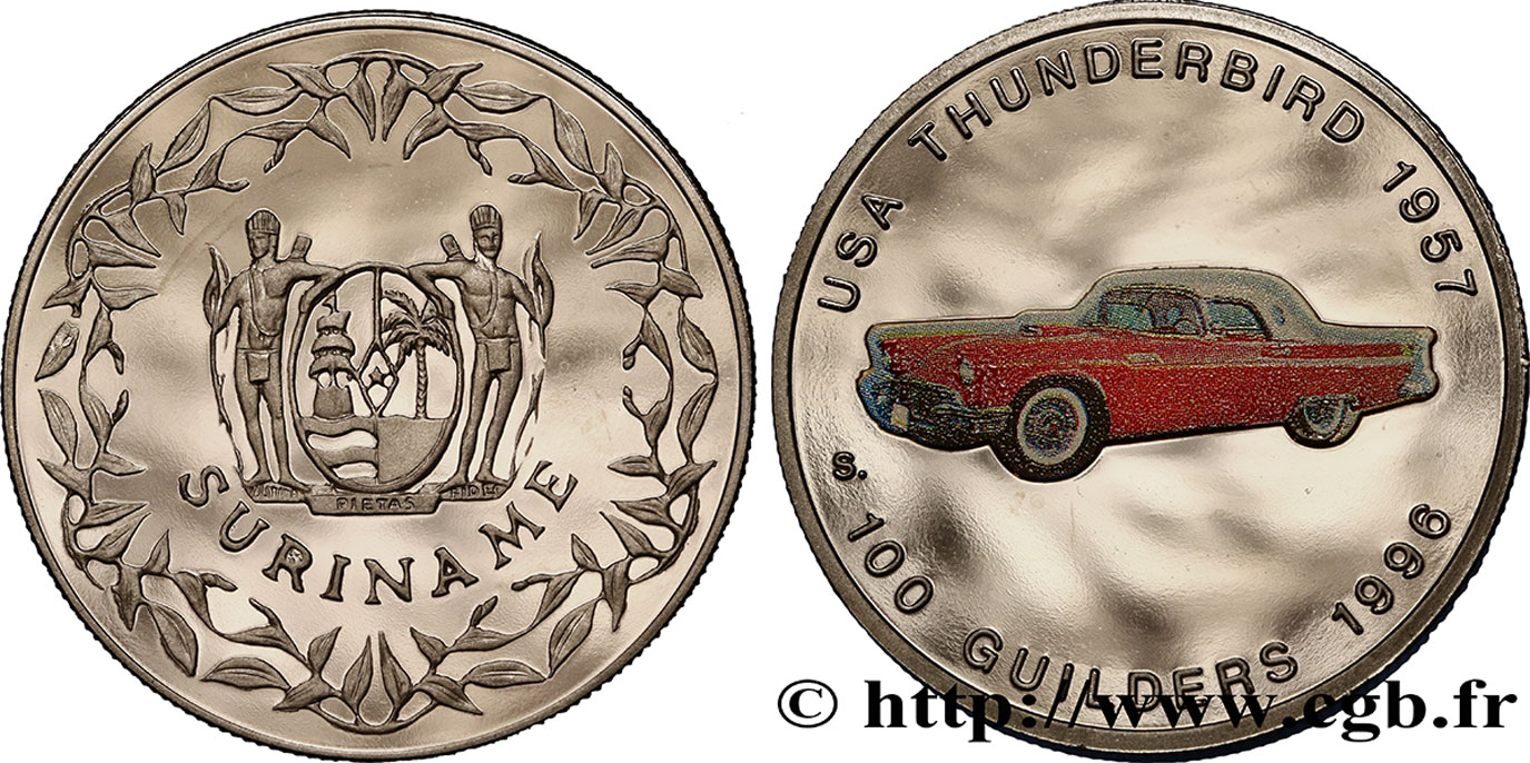 SURINAM 100 Guilders Proof Ford Thunderbird 1957 1996