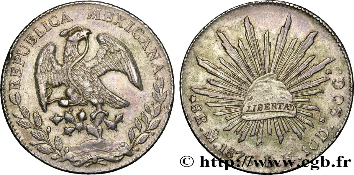 MEXIQUE 8 Reales 1876 Mexico TTB+