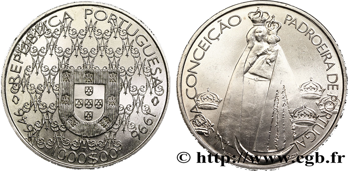 PORTUGAL 1000 Escudos Conception, patronne du portugal 1996  SPL