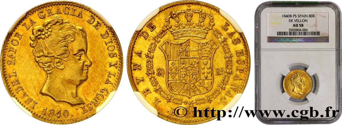 ESPAGNE - ROYAUME D ESPAGNE - ISABELLE II 80 Reales 1840 Barcelone SUP58 NGC