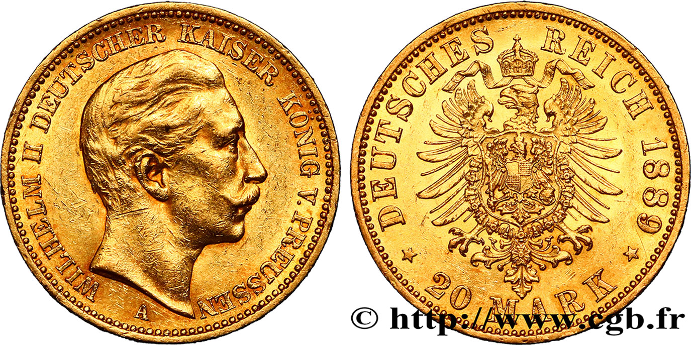 ALLEMAGNE - PRUSSE 20 Mark Guillaume II 1889 Berlin SUP
