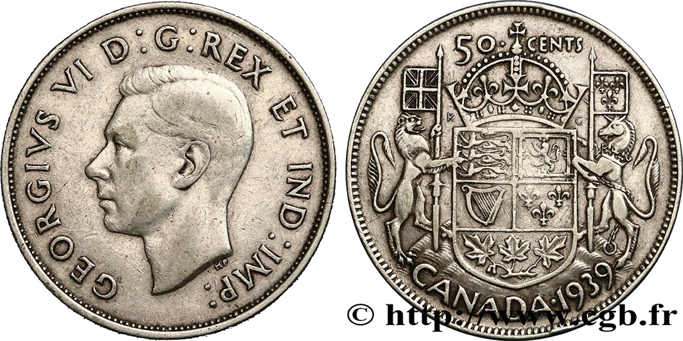 CANADA 50 Cents Georges VI 1939  TB+