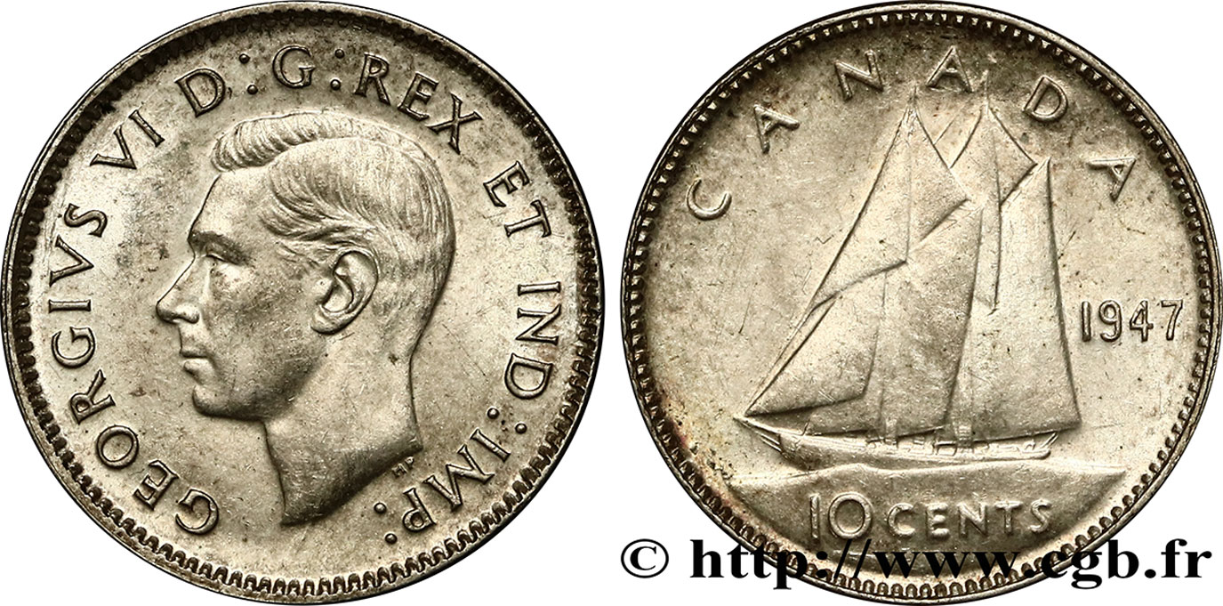 CANADA 10 cents Georges VI 1947  SPL