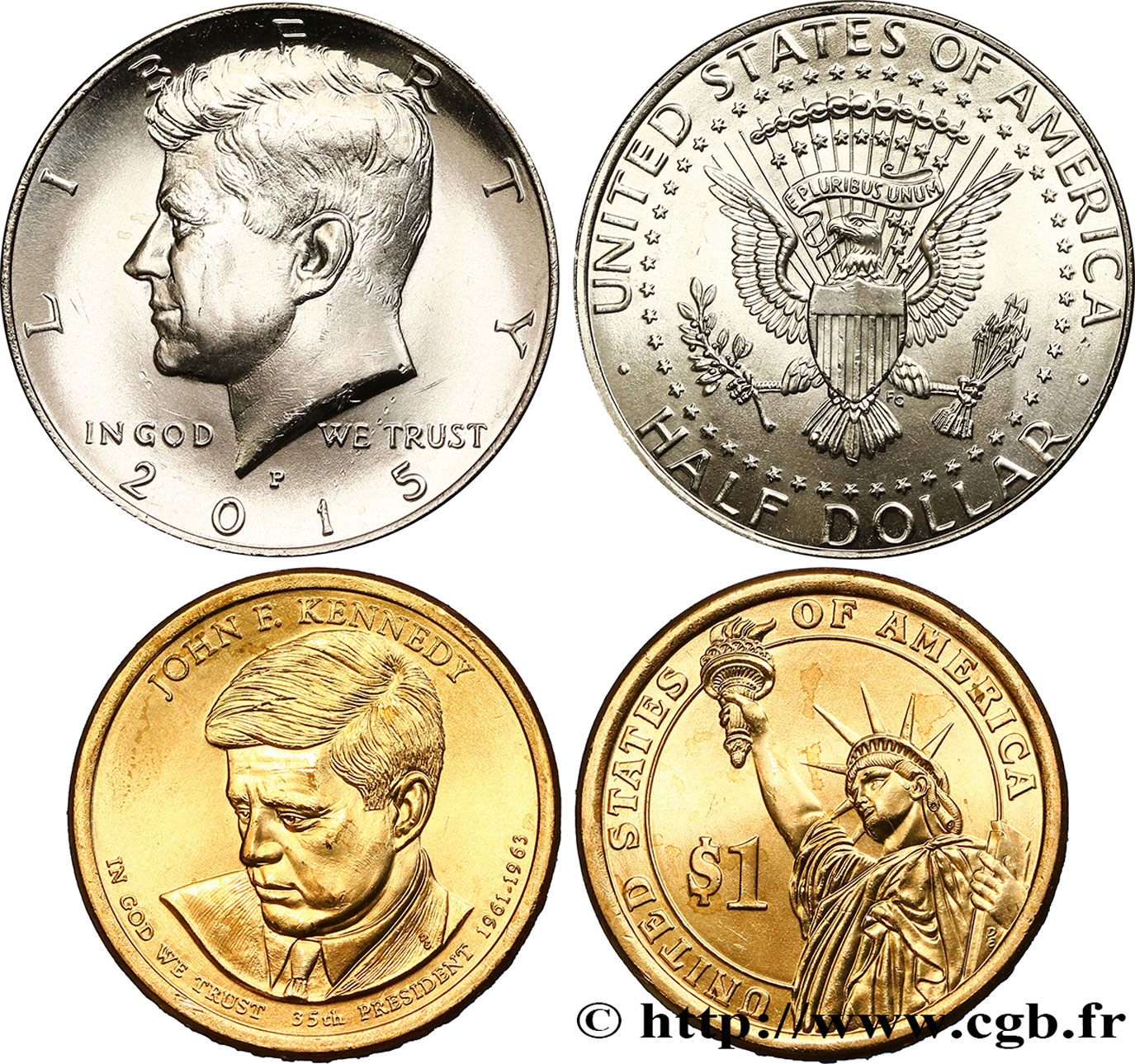 UNITED STATES OF AMERICA Lot de deux monnaies 1 Dollar John F. Kennedy 2015 Philadelphie - P MS