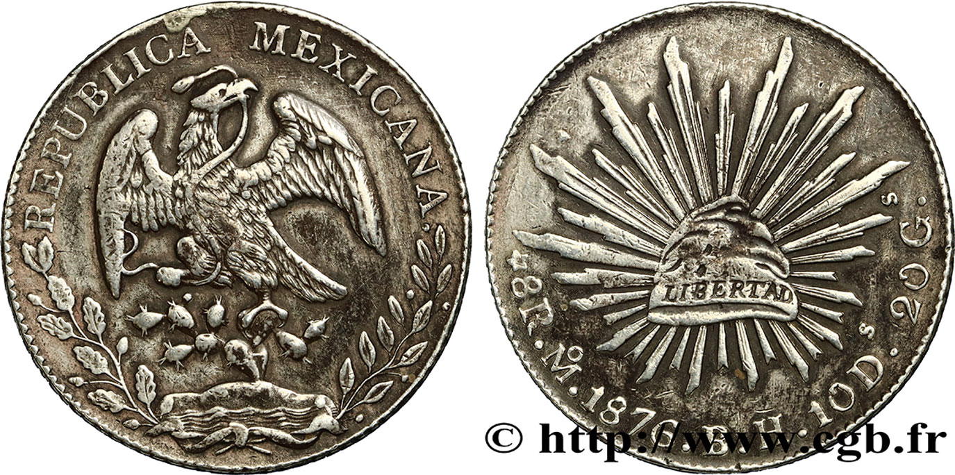 MEXIQUE 8 Reales 1876 Mexico TTB