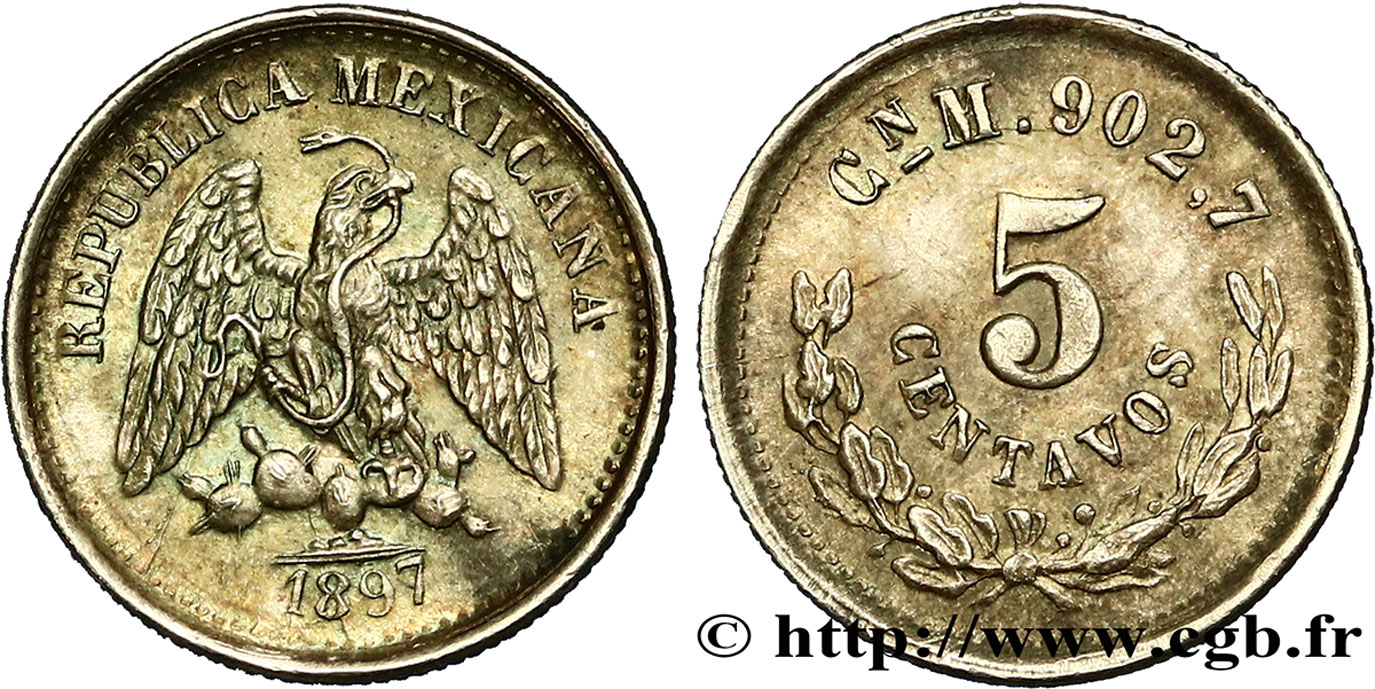 MEXIQUE 5 Centavos Aigle 1897 Mexico SPL