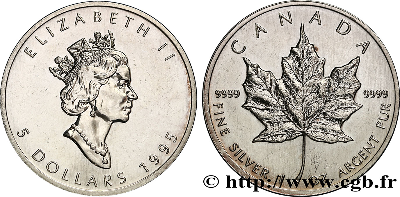 CANADA 5 Dollars (1 once) Proof feuille d'érable / Elisabeth II 1995  SUP