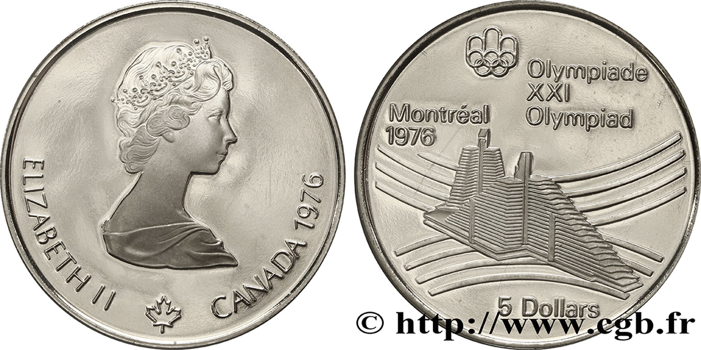 CANADA 5 Dollars Proof JO Montréal 1976 village olympique 1976  SPL