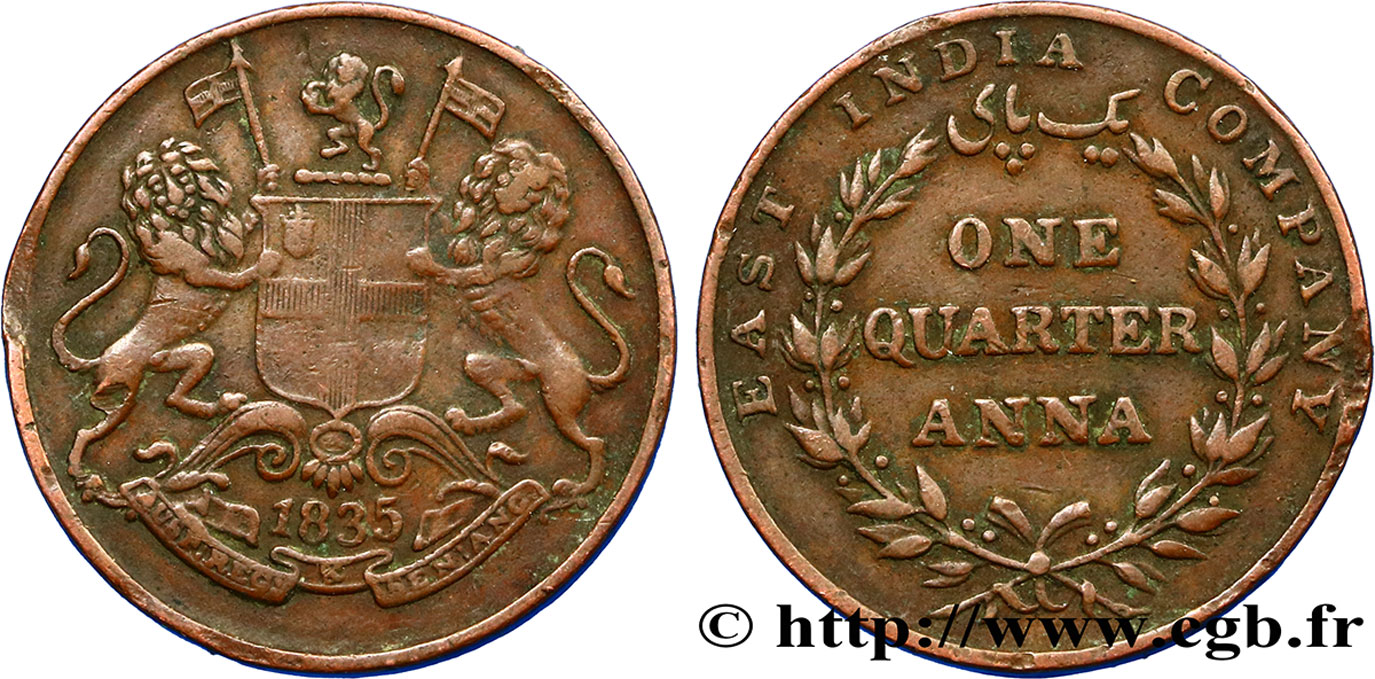 INDES BRITANNIQUES 1/4 Anna East India Company 1835 Bombay TB