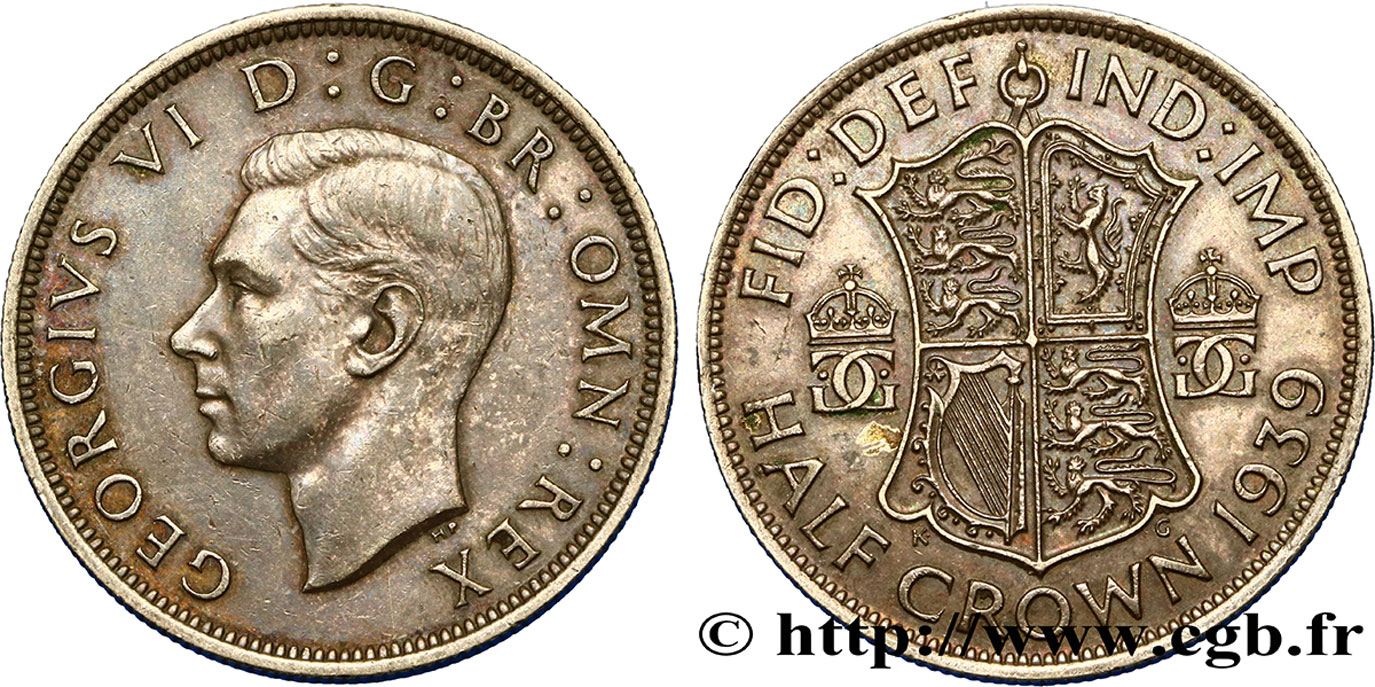 ROYAUME-UNI 1/2 Crown Georges VI 1939  TTB+