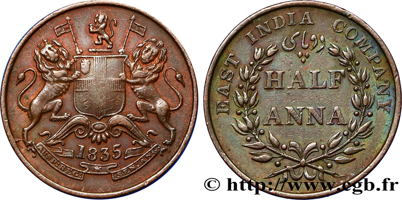 INDES BRITANNIQUES 1/2 Anna East India Company 1835 Madras TB+