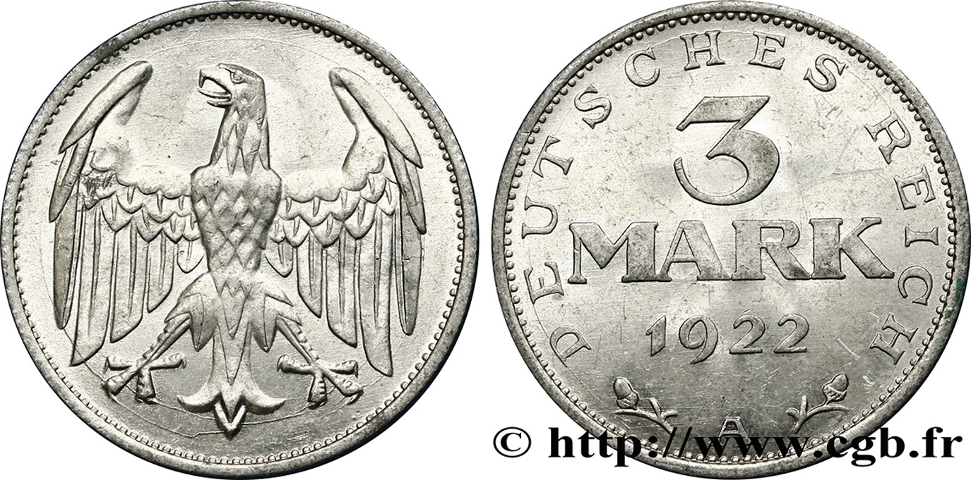 ALLEMAGNE 3 Mark aigle 1922 Berlin SUP