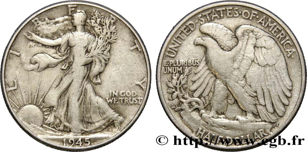 ÉTATS-UNIS D AMÉRIQUE 1/2 Dollar Walking Liberty 1945 Philadelphie TB+