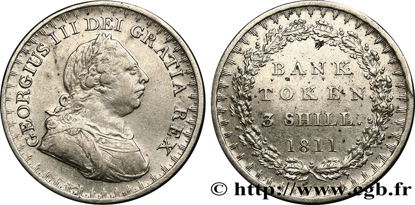 ROYAUME-UNI 3 Shillings Georges III Bank token 1811  TTB