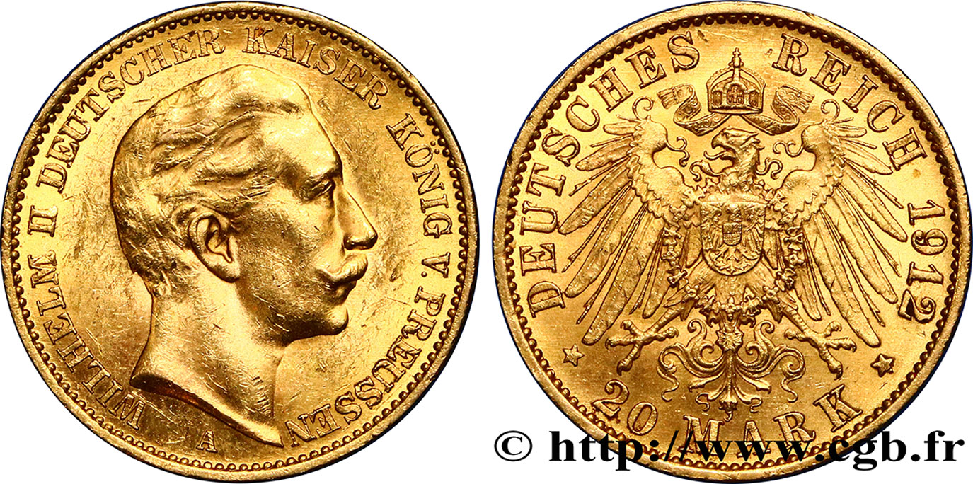 ALLEMAGNE - PRUSSE 20 Mark Guillaume II 1912 Berlin SUP