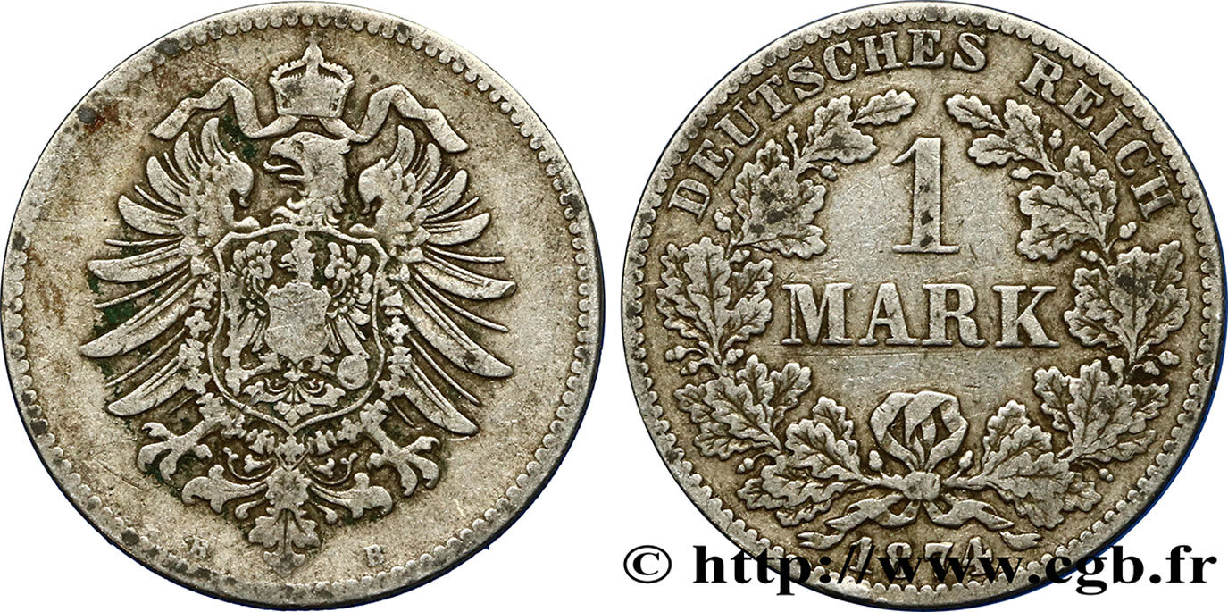 ALLEMAGNE 1 Mark Empire aigle impérial 1874 Hanovre - B TB