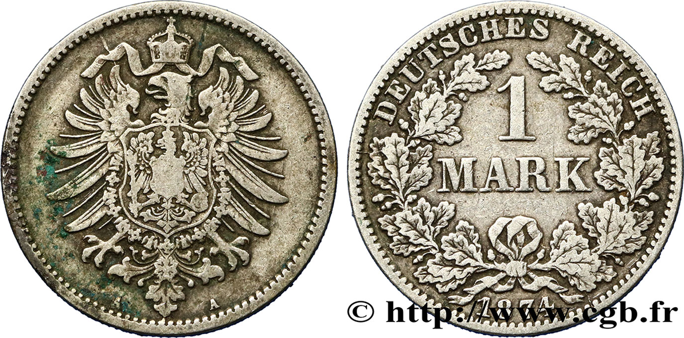 ALLEMAGNE 1 Mark Empire aigle impérial 1874 Berlin TB+