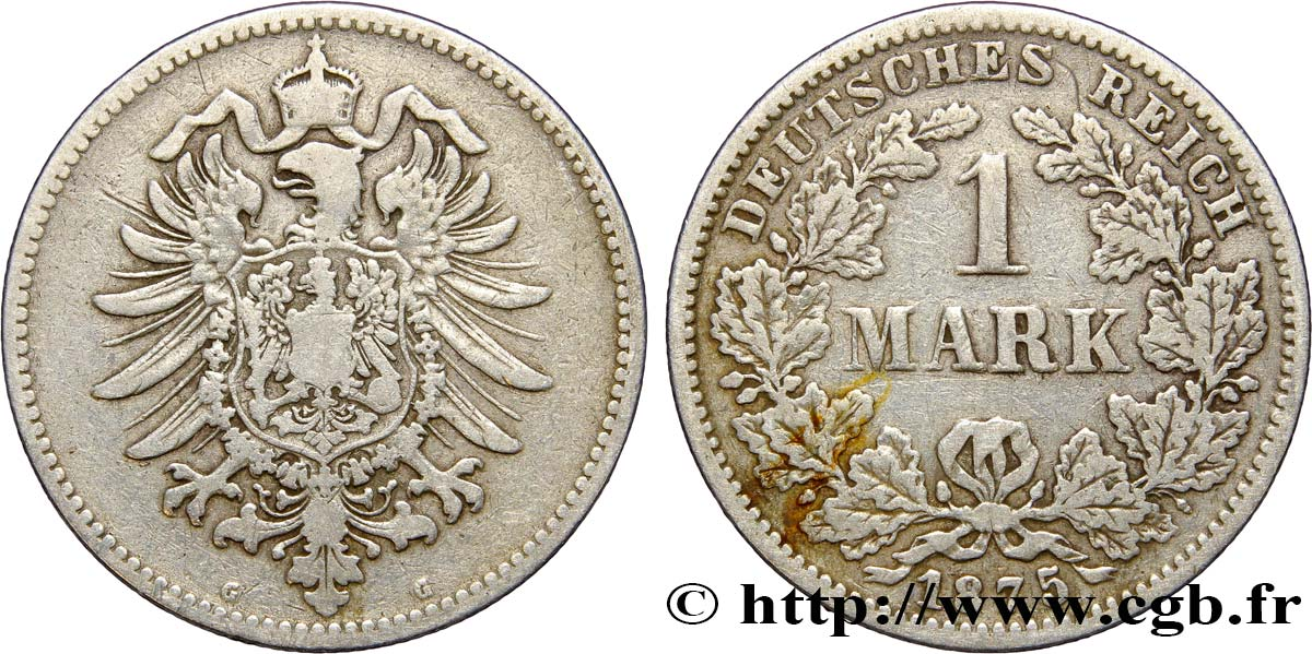 ALLEMAGNE 1 Mark Empire aigle impérial 1875 Karlsruhe - G TB+