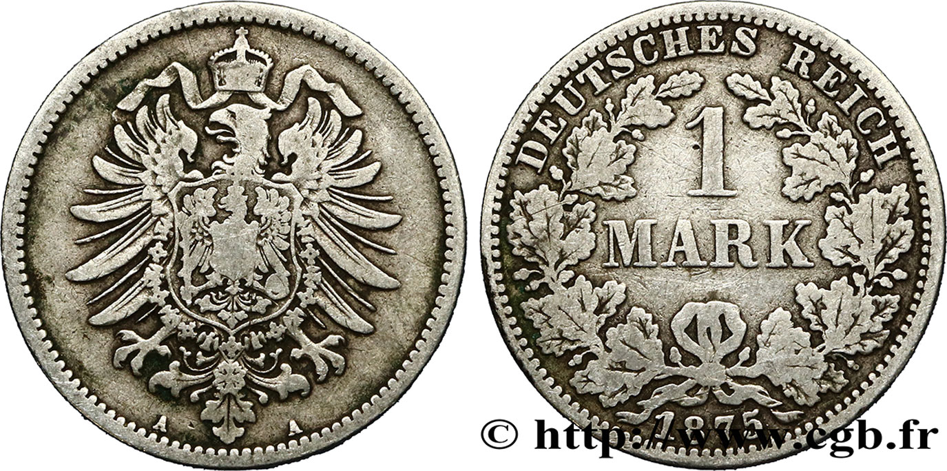 ALLEMAGNE 1 Mark Empire aigle impérial 1875 Berlin TB+