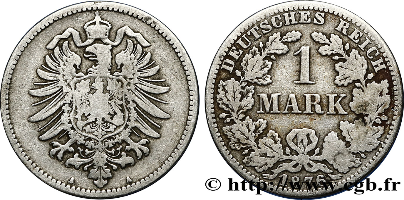ALLEMAGNE 1 Mark Empire aigle impérial 1876 Berlin TB+