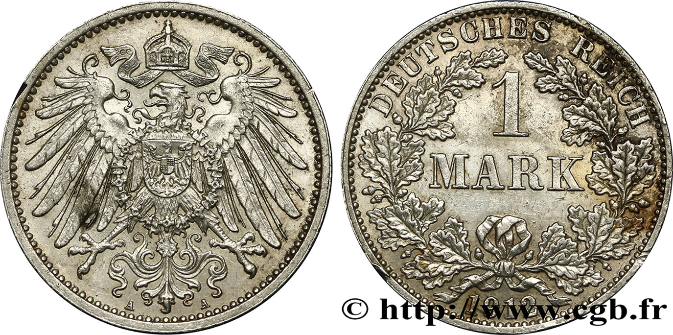 ALLEMAGNE 1 Mark Empire aigle impérial 2e type 1911 Berlin SUP