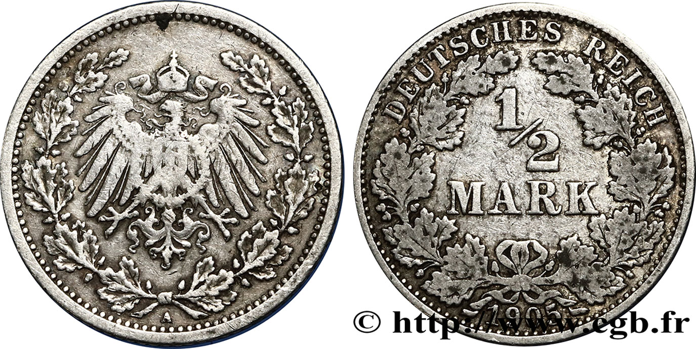ALLEMAGNE 1/2 Mark Empire aigle impérial 1905 Berlin TB+