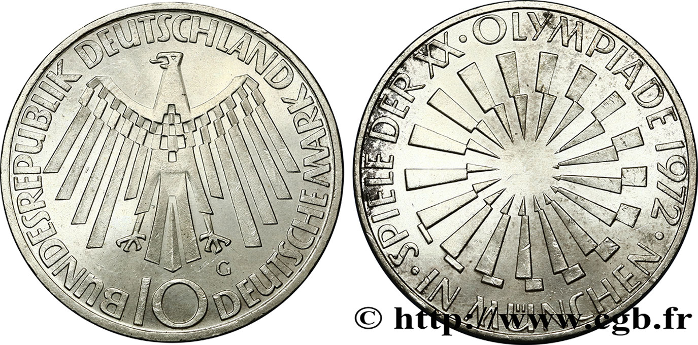 "ALLEMAGNE 10 Mark XXe J.O. Munich / aigle ""IN MÜNCHEN"" 1972 Karlsruhe SUP"