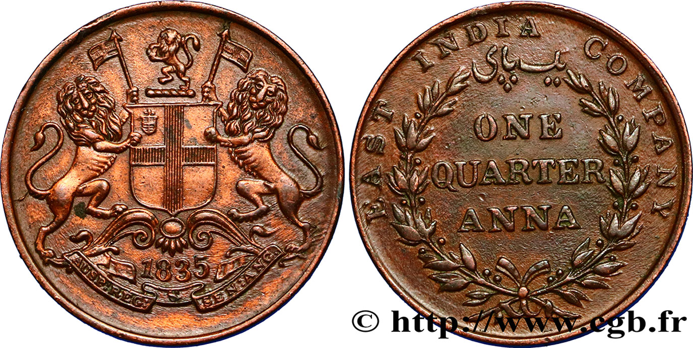 INDES BRITANNIQUES 1/4 Anna East India Company 1835  TTB+