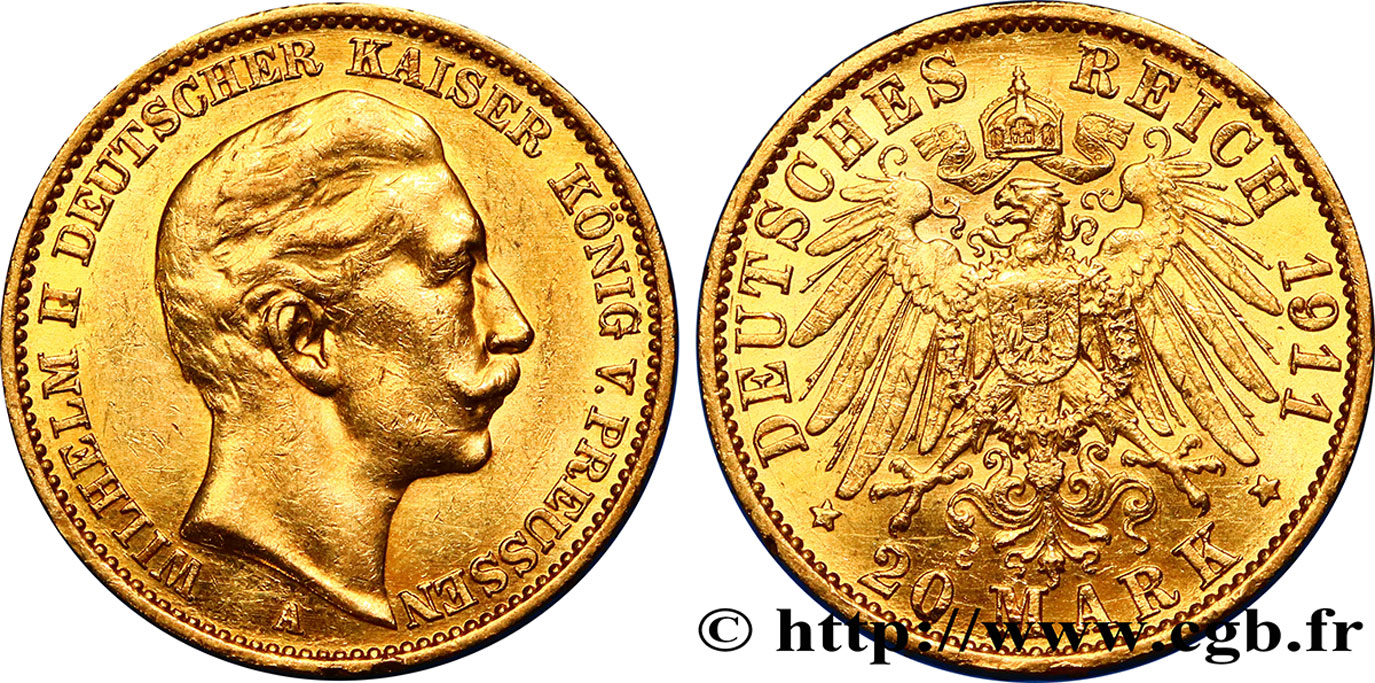 ALLEMAGNE - PRUSSE 20 Mark Guillaume II 1911 Berlin SUP